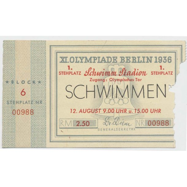 Berlin 1936 Olympic swimming ticket