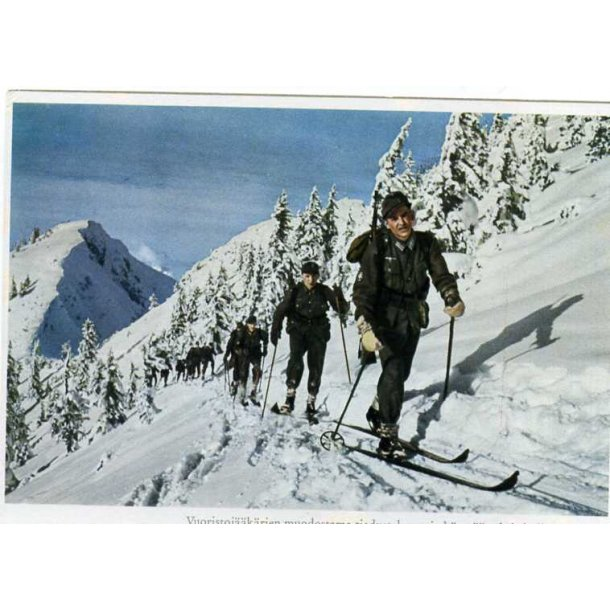 Finnish WW2 post card - German ski troops