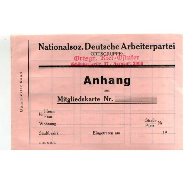 NSDAP member card add on