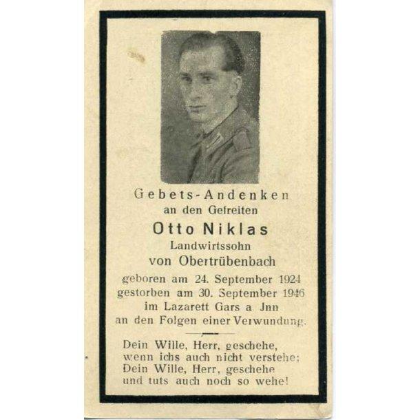 Death card - Gefr Otto Niklas