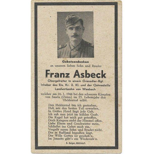 Death card - Franz Asbeck, Grenadier