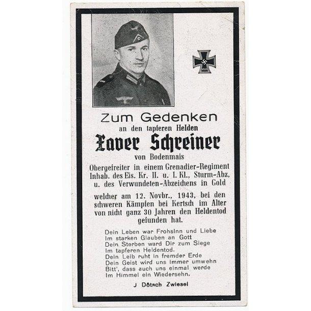 Death card - Zaver Schreiner, Grenadier