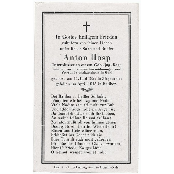Death card - Anton Hosp, Gebirgsjäger