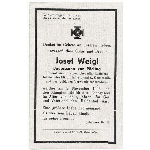 Death card - Josef Weigl, Grenadier