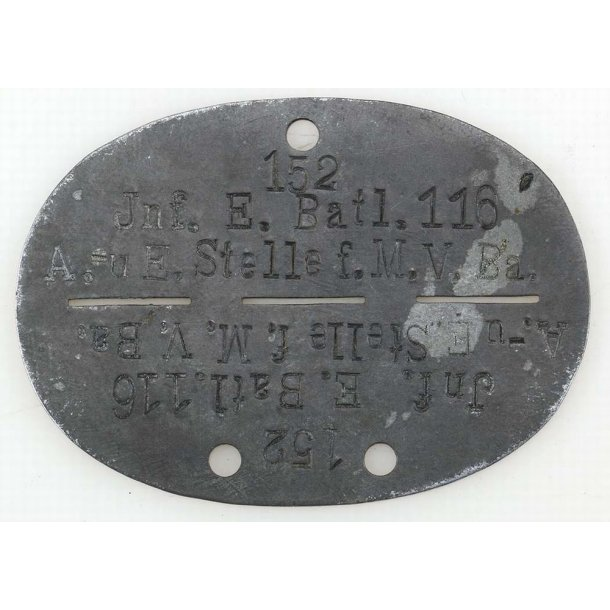 Army  Infanterie-Ersatz-Bataillon 116 dog tag