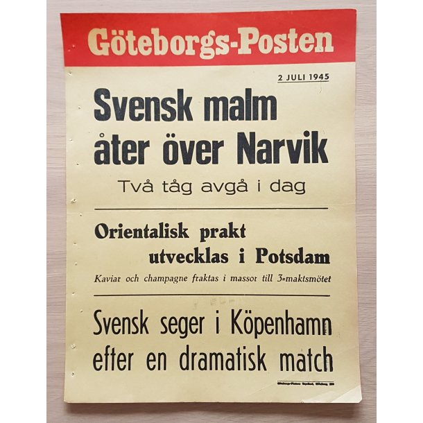 WWII Newspaper Poster - Göteborgs-Posten July 2, 1945