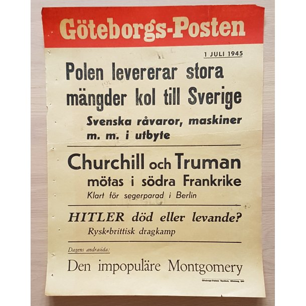 WWII Newspaper Poster - Göteborgs-Posten July 1, 1945
