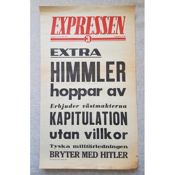 WWII Newspaper Poster - Expressen April 28, 1945
